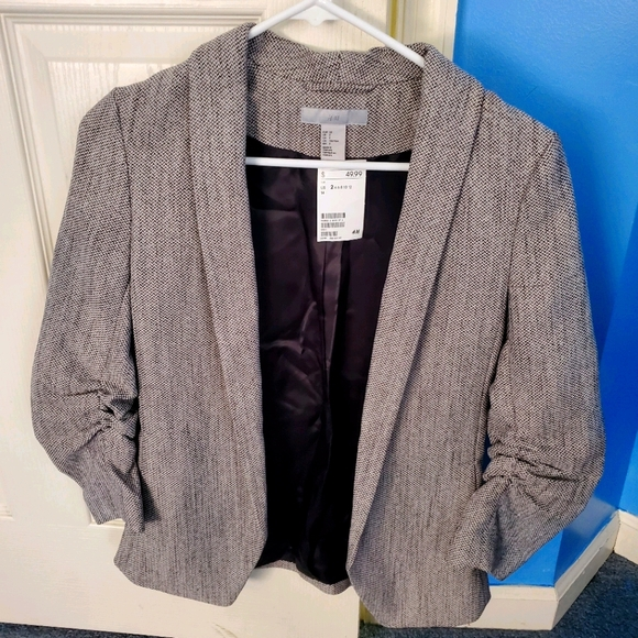 H&M Ruched Sleeve Tweed Jacket Size 2